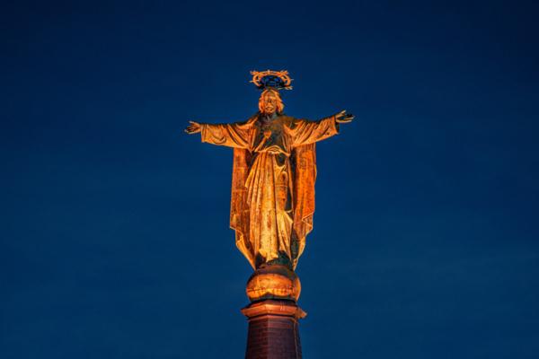 Jezus Waaghals oranje aangelicht