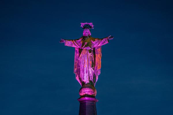 Jezus Waaghals roze aangelicht