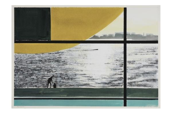 Koen Vermeule Fensterbild 2019 Gouache op papier 43 x 62 cm verkleind